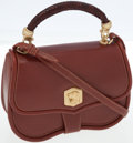 Luxury Accessories:Bags, Kieselstein Cord Brown Leather Top Handle Bag with Gold DogMedallion. ...