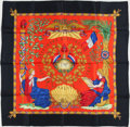 "Luxury Accessories:Accessories, Hermes Red, Black, and Gold ""1789 Liberte Egalite Fraternite,"" byJoachim Metz Silk Scarf. ..."