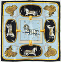 "Luxury Accessories:Accessories, Hermes Light Blue, Navy, and Gold ""Grand Apparat,"" by Jacques EudelSilk Scarf. ..."