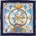 "Luxury Accessories:Accessories, Hermes White, Blue, and Gold ""Vive le Vent,"" By Laurence ThiouneSilk Scarf. ..."