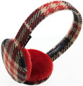 Luxury Accessories:Accessories, Burberry Plaid Wool and Red Earmuffs. ...