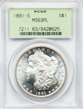 Morgan Dollars: , 1891-S $1 MS63 Prooflike PCGS. PCGS Population (159/124). NGCCensus: (106/129). Numismedia Wsl. Price for problem free NG...