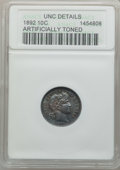 Barber Dimes: , 1892 10C -- Artificially Toned -- ANACS. UNC Details. NGC Census:(5/1028). PCGS Population (20/1084). Mintage: 12,121,245....