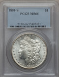 Morgan Dollars: , 1881-S $1 MS66 PCGS. PCGS Population (12033/1673). NGC Census:(16208/4211). Mintage: 12,760,000. Numismedia Wsl. Price for...