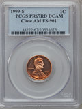 Proof Lincoln Cents, 1999-S 1C Close AM PR67 Red Deep Cameo PCGS. FS-901. PCGSPopulation (84/346). NGC Census: (0/0)....