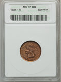 Indian Cents: , 1908 1C MS62 Red and Brown ANACS. NGC Census: (12/648). PCGSPopulation (13/728). Mintage: 32,327,988. Numismedia Wsl. Pric...