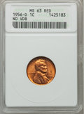 Lincoln Cents, 1956-D 1C No VDB MS63 Red ANACS. NGC Census: (10/2410). PCGSPopulation (6/2170). Mintage: 1,098,201,088....