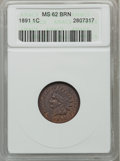 Indian Cents: , 1891 1C MS62 Brown ANACS. NGC Census: (26/181). PCGS Population(10/89). Mintage: 47,072,352. Numismedia Wsl. Price for pro...