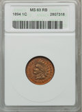 Indian Cents: , 1894 1C MS63 Red and Brown ANACS. NGC Census: (62/224). PCGSPopulation (135/208). Mintage: 16,752,132. Numismedia Wsl. Pri...
