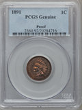 Proof Indian Cents, 1891 1C -- Cleaning -- Proof PCGS Genuine. Mintage: 2,350....