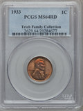 Lincoln Cents: , 1933 1C MS64 Red PCGS. Ex: Teich Family Collection. PCGS Population(224/783). NGC Census: (65/389). Mintage: 14,360,000. N...