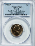 Proof Jefferson Nickels: , 1942-P 5C Type Two PR65 PCGS. Ex: Teich Family Collection. PCGSPopulation (1810/1746). NGC Census: (715/1392). Mintage: 27...