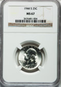 Washington Quarters: , 1944-S 25C MS67 NGC. NGC Census: (311/1). PCGS Population (88/3).Mintage: 12,560,000. Numismedia Wsl. Price for problem fr...
