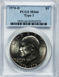 Eisenhower Dollars: , 1976-D $1 Type One MS66 PCGS. PCGS Population (259/3). NGC Census: (243/7). Mintage: 21,048,710. Numismedia Wsl. Price for ...