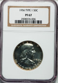 Proof Franklin Half Dollars, 1956 50C Type One PR67 NGC. NGC Census: (4013/2760). PCGSPopulation (1674/659). Mintage: 669,384. Numismedia Wsl. Pricefo...