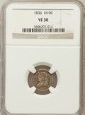 Bust Half Dimes: , 1836 H10C Large 5C VF30 NGC. NGC Census: (8/344). PCGS Population(7/261). Mintage: 1,900,000. Numismedia Wsl. Price for pr...