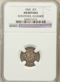 Three Cent Silver, 1860 3CS -- Scratches, Cleaned -- NGC Details. AU. NGC Census:(16/238). PCGS Population (19/256). Mintage: 286,000. Nu...