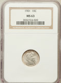 Barber Dimes: , 1901 10C MS63 NGC. NGC Census: (55/117). PCGS Population (95/136).Mintage: 18,860,478. Numismedia Wsl. Price for problem f...