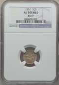 Three Cent Silver: , 1852 3CS -- Bent -- NGC Details. AU. NGC Census: (2/1317). PCGS Population (29/1390). Mintage: 18,663,500. Numismedia Wsl. ...