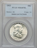 Franklin Half Dollars: , 1953 50C MS64 Full Bell Lines PCGS. PCGS Population (1013/320). NGCCensus: (83/39). Numismedia Wsl. Price for problem fre...