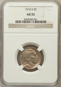 Buffalo Nickels: , 1914-S 5C AU55 NGC. NGC Census: (54/1152). PCGS Population(119/1346). Mintage: 3,470,000. Numismedia Wsl. Price for proble...