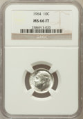 Roosevelt Dimes, 1964 10C MS66 Full Torch NGC. NGC Census: (136/29). PCGS Population(153/17). Mintage: 929,299,968. Numismedia Wsl. Price f...