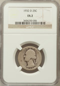 Washington Quarters: , 1932-D 25C Fair 2 NGC. NGC Census: (56/2865). PCGS Population(34/4944). Mintage: 436,800. Numismedia Wsl. Price for proble...