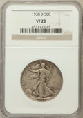 Walking Liberty Half Dollars: , 1938-D 50C VF20 NGC. NGC Census: (148/1707). PCGS Population(225/3233). Mintage: 491,600. Numismedia Wsl. Price for proble...