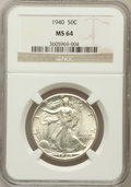 Walking Liberty Half Dollars: , 1940 50C MS64 NGC. NGC Census: (908/2246). PCGS Population(1510/3165). Mintage: 9,167,279. Numismedia Wsl. Price for probl...