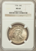 Walking Liberty Half Dollars: , 1936 50C MS64 NGC. NGC Census: (856/1800). PCGS Population(1654/2789). Mintage: 12,617,901. Numismedia Wsl. Price for prob...