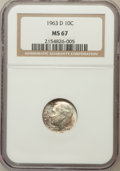 Roosevelt Dimes: , 1963-D 10C MS67 NGC. NGC Census: (194/1). PCGS Population (59/1).Mintage: 421,476,544. Numismedia Wsl. Price for problem f...