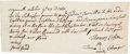 Autographs:U.S. Presidents, John Adams Autograph Note....