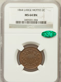 Two Cent Pieces: , 1864 2C Large Motto MS64 Brown NGC. CAC. NGC Census: (441/270).PCGS Population (275/53). Mintage: 19,847,500. Numismedia W...