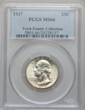 Washington Quarters: , 1937 25C MS66 PCGS. Ex: Teich Family Collection. PCGS Population(365/53). NGC Census: (282/58). Mintage: 19,701,542. Numis...
