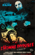 "Movie Posters:Horror, The Invisible Man (Universal International, R-1951). French Affiche(30.25"" X 47"").. ..."