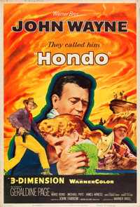 """Hondo (Warner Brothers, 1953). Poster (40"""" X 60"""") 3-D Style Z"""