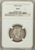 Barber Quarters: , 1896-O 25C VG8 NGC. NGC Census: (2/98). PCGS Population (5/141).Mintage: 1,484,000. Numismedia Wsl. Price for problem free...