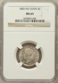 Liberty Nickels: , 1883 5C No Cents MS65 NGC. NGC Census: (1832/524). PCGS Population(1370/375). Mintage: 5,479,519. Numismedia Wsl. Price fo...