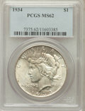 Peace Dollars: , 1934 $1 MS62 PCGS. PCGS Population (921/4202). NGC Census:(795/3114). Mintage: 954,057. Numismedia Wsl. Price for problem ...