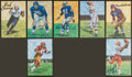 Football Collectibles:Others, Football Hall of Famers Signed and Unsigned Goal Line Art Cards (300+)....
