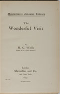 Books:Literature 1900-up, H. G. Wells. The Wonderful Visit. Macmillan, 1895. FirstColonial edition, first printing with ads dated 20.12.95. M...