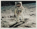 Autographs:Celebrities, Buzz Aldrin Signed Color Lunar Surface Photo with LengthySentiment....