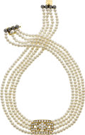 Estate Jewelry:Necklaces, Cultured Pearl, Hematite, Diamond, Gold Necklace, Van Cleef &Arpels. ...