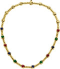 Estate Jewelry:Necklaces, Sapphire, Ruby, Emerald, Gold Necklace. ...