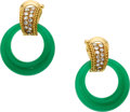 Estate Jewelry:Earrings, Chalcedony, Diamond, Gold Earrings, Van Cleef & Arpels. ...
