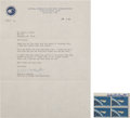 Autographs:Celebrities, Deke Slayton Philatelic-Related Typed Letter Signed with StampBlock Signed. ... (Total: 2 Items)