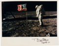 Autographs:Celebrities, Buzz Aldrin Signed Color Lunar Surface Photo....