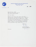 Autographs:Celebrities, Neil Armstrong 1969-Dated Typed Letter Signed Regarding Carrying aPersonal Philatelic Item on Apollo 11....