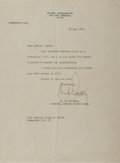 Autographs:Military Figures, Matthew B. Ridgway Typed Letter Signed....