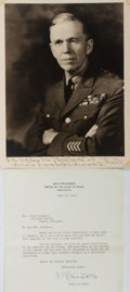 Autographs:Military Figures, George C. Marshall Signed Photograph and Typed Letter Signed....